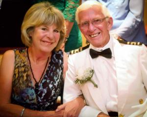 Bill Galer, with wife Lois, after renewing their vows for their golden wedding anniversary aboard...