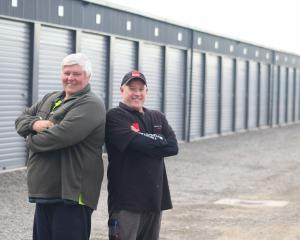 Oamaru Self Storage owner Lance Greaney (left) and Foleys senior plumber and gas fitter Tom...