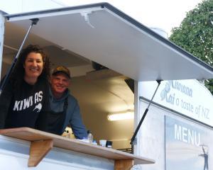 Rachel Kerr and Glenn Priddle have set up shop to sell true Kiwi whitebait patties. Photo: Oamaru...