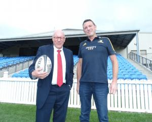 Queenstown Lakes Mayor Jim Boult (left) and Highlanders chief executive Roger Clark at Sir John...