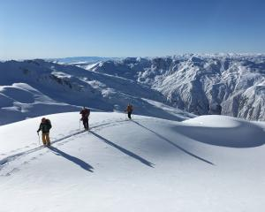 Ski tourers on the Mahu Whenua Traverse last winter. PHOTOS: SUPPLIED