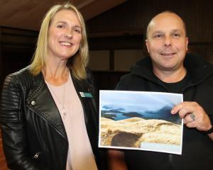 Ardlussa Community Board member Hilary Kelso and Riversdale mountainbiker Daniel Butler are very...