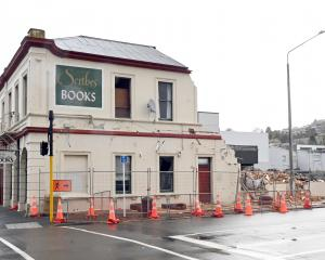 Demolition at the Scribes bookshop site in North Dunedin was halted last month. PHOTO: LINDA...