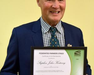 Kaitangata dairy farmer Stephen Korteweg was presented with a Federated Farmers Otago life...