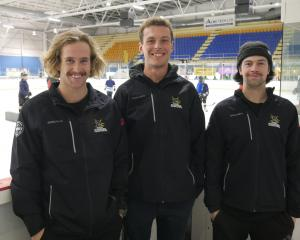 Phoenix Thunder players (from left) Dylan Devlin, Jacob Hurring and Joe Orr at the Dunedin Ice...