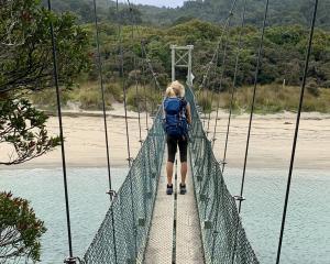 Swing bridge at Maori Beach.