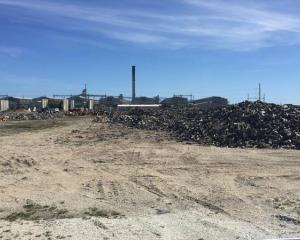 Waste piled up by the main Tiwai Point aluminium smelter site earlier this year. Photo: Supplied