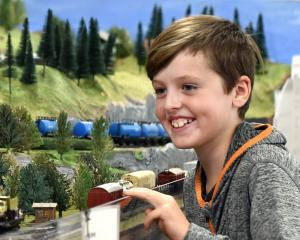 Cruz Shields (9), of Dunedin, admires the Marklin European HO layout from Invercargill during the...
