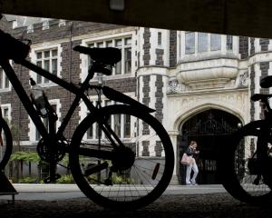 Bicycles are parked in the cycle stands under the Archway Lecture Theatres at the University of...