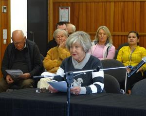 Wanaka Community Hub Trust chairwoman Yeverley McCarthy speaks at the public forum of the Wanaka...