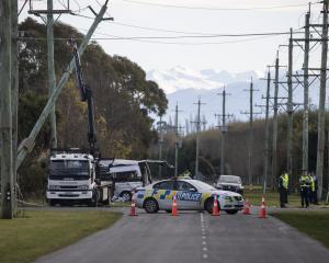 Four people died yesterday morning near Ashburton after a crash between a van and a truck. PHOTO:...