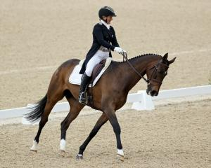 New Zealand eventer Jonelle Price and Grovine De Reve compete in the Kentucky three-day event in...