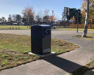 One of the bins being introduced to Christchurch parks. Photo: Newsline