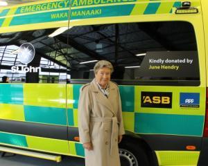 June Hendry with the ambulance she has donated to St John Wakatipu. Photo: Mountain Scene