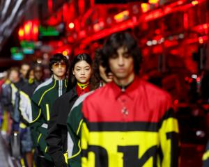 Fabrics include silk, with a printed pattern of Ferrari iconography, and nylon.  Photo: Reuters