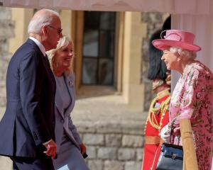 The Queen greets President Joe Biden and first lady Jill Biden at Windsor Castle. Photo: Reuters