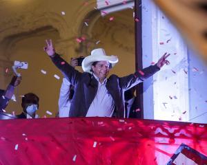 Peru's presidential candidate Pedro Castillo addresses supporters in Lima. Photo: Reuters