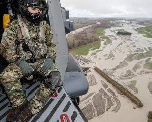 The New Zealand Defence Force fly over flood affected areas in Ashburton. Photo: Pool
