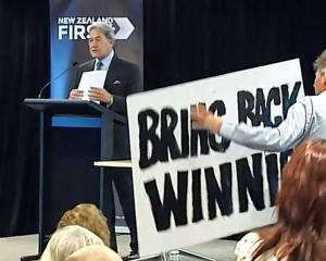 New Zealand First leader Winston Peters speaking at the party's AGM in Auckland yesterday. Photo:...