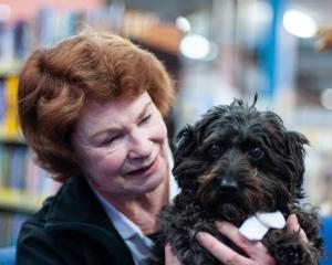 Pet therapy dog Petal and owner Anne Davies at the Alexandra Library yesterday. Petal retired...
