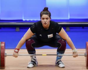 Belgian athlete Anna Vanbellinghen competes in the Women's +87 kg final on the last day of the...