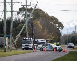 Four people died yesterday morning in Ashburton after a crash between a van and a truck. Photo:...