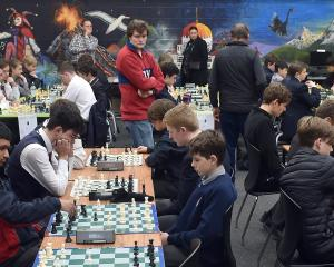 Pupils ponder their next moves at the Otago-Southland Interschool Teams Chess Championship at...