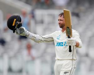 Devon Conway celebrates reaching his century at Lord's on Wednesday. Photo: Action Images via...