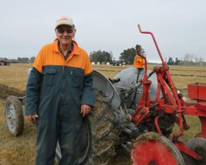 Colin Cross (84) competes at the Mid Canterbury  Vintage Machinery Club ploughing match at...
