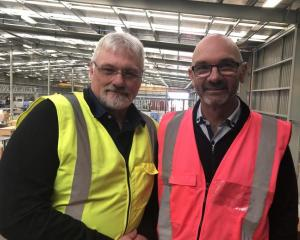Concision general manager Tony Whale (L) with Spanbild Holdings CEO Kerry Edwards at the...