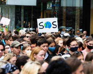 A School Strike 4 Climate march in Auckland on April 9, 2021. Photo: RNZ / Dan Cook