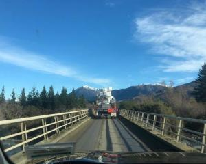 A truck heads south over the Ashburton River on the Arundel-Rakaia Gorge Road in Mid-Canterbury....
