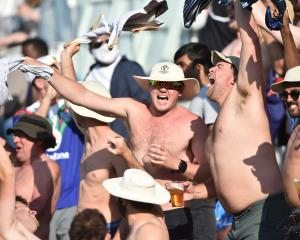 New Zealand fans celebrate during day six of the ICC World Test Championship final at the...
