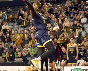 Otago Nuggets guard Isaiah Moss prepares to slam dunk during his side's NBL win over the Franklin...