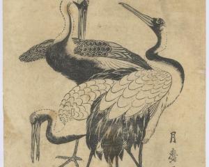 Three Cranes, by Kitagawa Tsukimaro