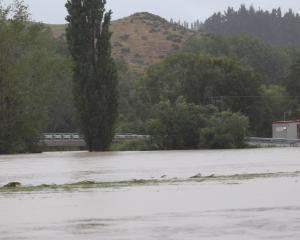 The Mataura River in flood near the Pyramid Bridge. Photo: Sandy Eggleston