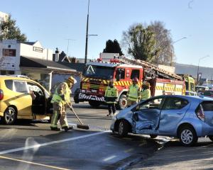 A two-car crash at the intersection of Ayr St and Gordon Rd in Mosgiel. Photo: Christine O'Connor