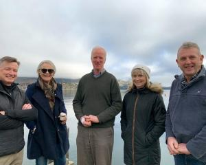 A Wanaka group, including (from left) Mark Verbiest, Prue Wallis, Michael Sidey, Emily McRae and...