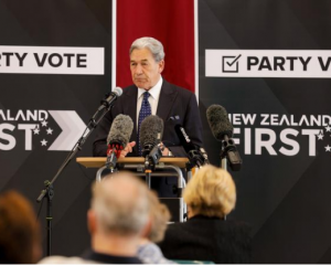 New Zealand First leader Winston Peters campaigning at Ōrewa Community Centre in Auckland on 25...