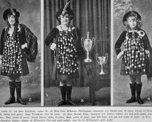 Winners in the Otago competitions of the Piping and Dancing Association of New Zealand (from left...