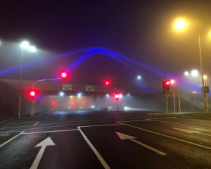 Fog in Christchurch on Tuesday morning. Photo: Hamish Clark