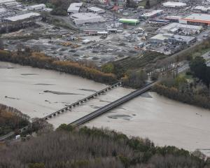 Ashburton was cut in two when the bridge closed during the heavy rain and floods. Photo: Supplied
