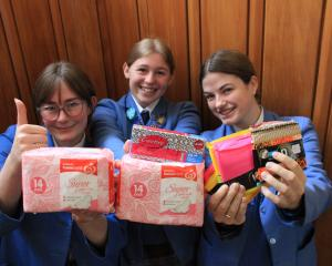 Queen's High School prefects (from left) Emma Robertson, Chloe Wood and Daisy Kitto-Thomas (all...