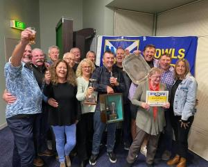 Brighton Bowls Club members celebrate being crowned Club of the Year at the recent Dunedin Bowls...