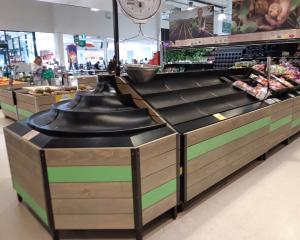 Empty shelves in the fruit and vegetable department at Countdown Dunedin Central after flooding...