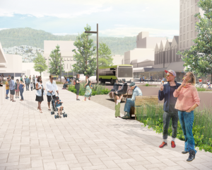 An artist's impression of Courtenay Place free of cars. Photo: Supplied / Let's Get Wellington...