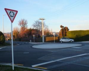 The roundabout at the intersection of Factory and Wingatui Rds. PHOTO: GILLIAN VINE