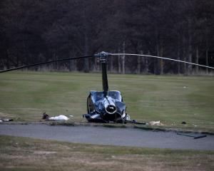 The Robinson helicopter that crashed at Terrace Downs in Canterbury on Saturday afternoon. Photo:...