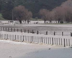 Properties bordering the Wharekahika River have been flooded this morning. Photo: Tairāwhiti...