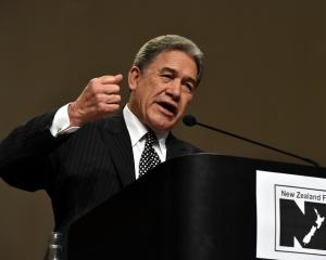 New Zealand First leader Winston Peters addresses the party's conference in Dunedin yesterday....